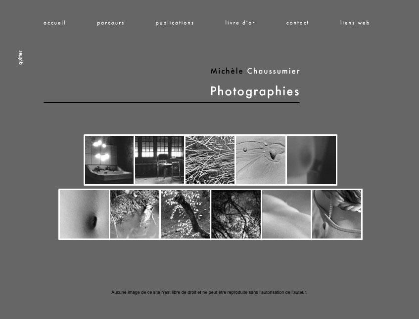 Page d'accueil du site Michèle Chaussumier