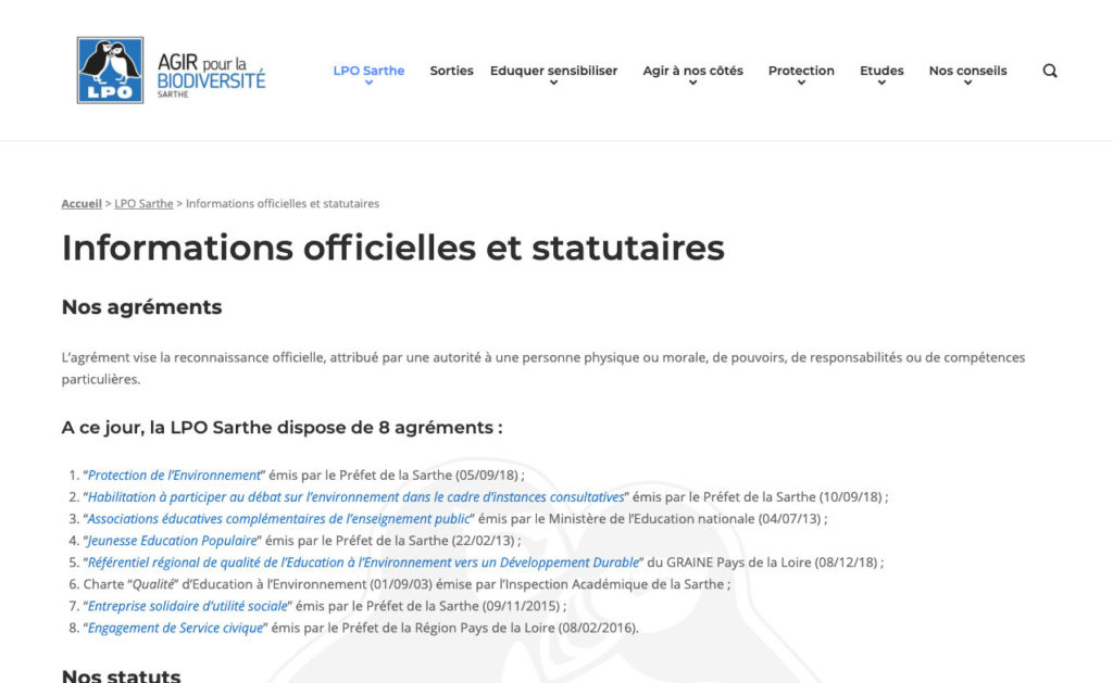 Lpo Sarthe 3 Site WordPress Organisation Associative